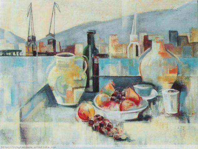 Bodegón;jarrón y frutas Óleo Lienzo Paisaje
