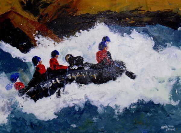 rafting Lienzo Acrílico Paisaje