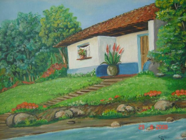Camino al río Oil Canvas Landscaping