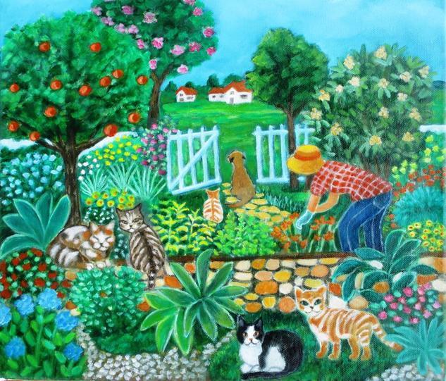 La jardinera Óleo Paisaje Lienzo