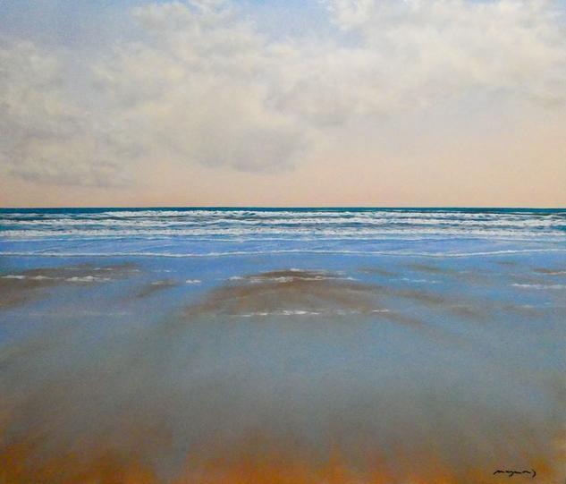 Playa de La Barrosa III Marina Óleo Tabla