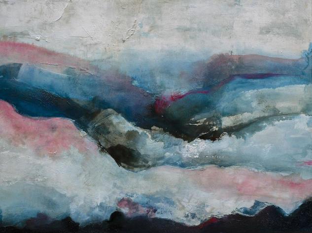Gélido invierno. Pintura abstracta de gran formato en turquesa y fresa Paisaje Acrílico Tabla
