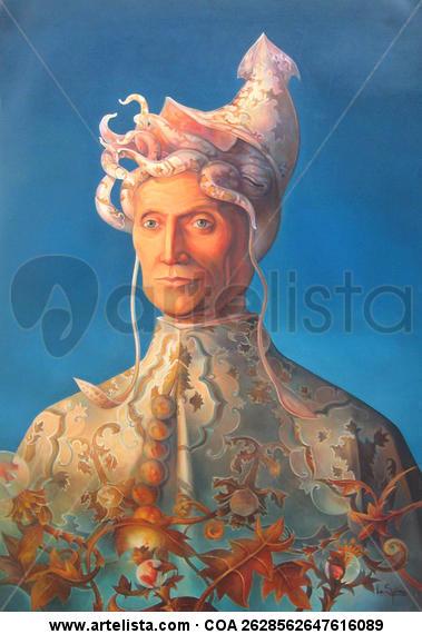 El Dux Textile Oil Portrait