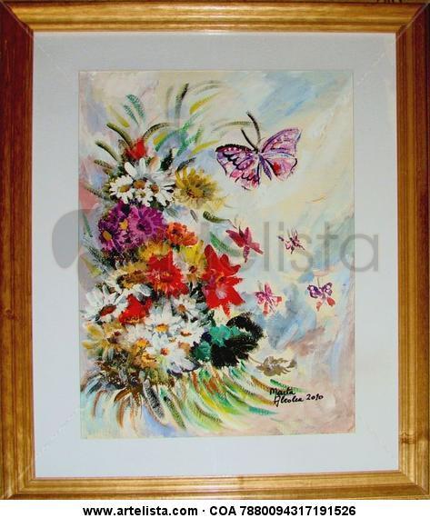 mariposas en primavera Papel Acrílico Floral