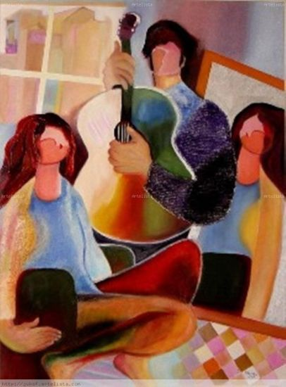 Recreación de una pintura del maestro Hessam Abrishami Lienzo Media Mixta Figura