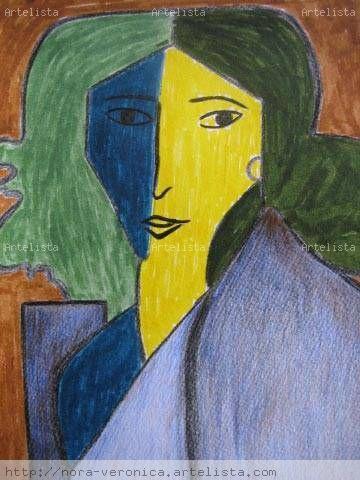 Retrato de Lydia Delectorskaya, la secretaria del artista H. Matisse Mixed Media