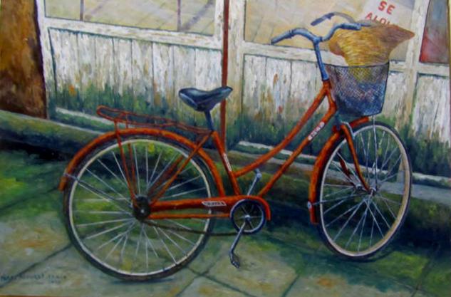 bicicleta con gorro Tabla Óleo Figura