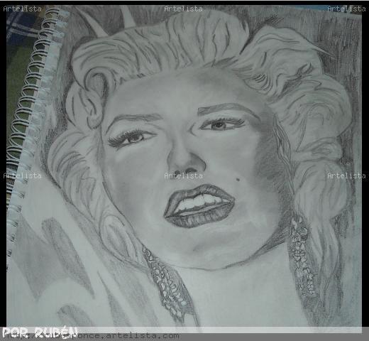 Retrato Marilyn Monroe Lápiz (Negro) Papel Retrato