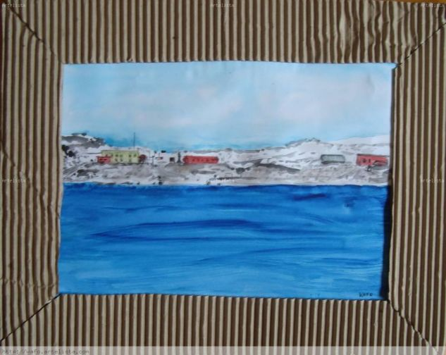 base Artigas vista desde el mar Acuarela Papel Paisaje