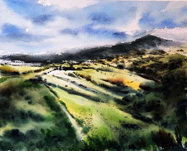 montaña leonesa el cebreiro Landscaping Watercolour Paper