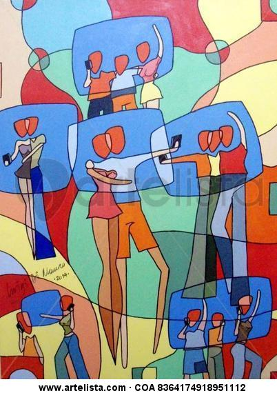 Connected Friends Selfie 02 Figura Acrílico Tela