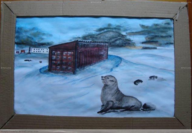 lobo marino Acuarela Papel Animales