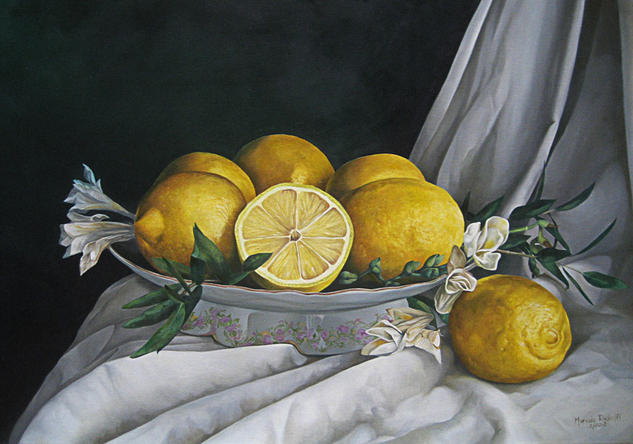 Limones, frutera y paño. Still Life Paintings Oil Canvas