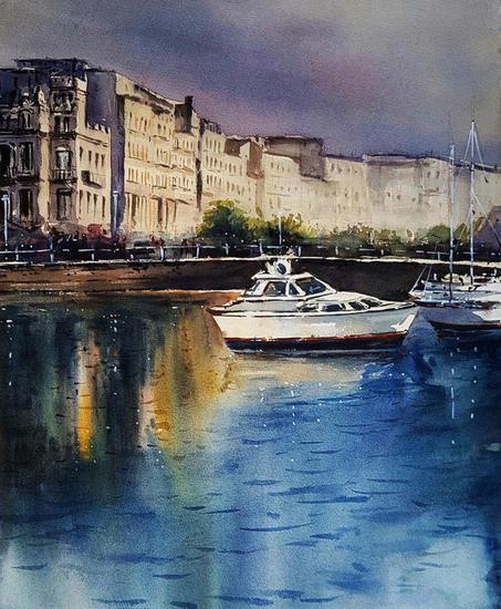 puerto deportivo Marine Painting Watercolour Paper