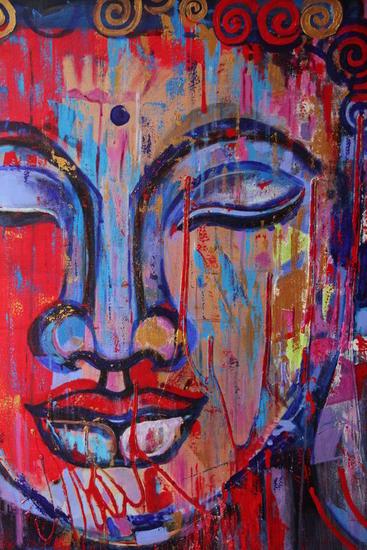 Buddha Feliz Acrílico Retrato Lienzo