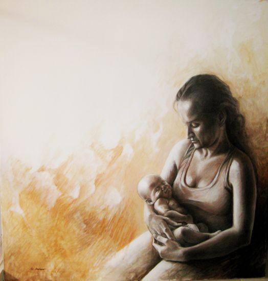 Maternidad Óleo Lienzo Figura