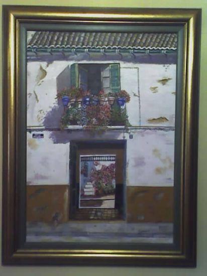 casa, corralon malagueño Lienzo Óleo Paisaje