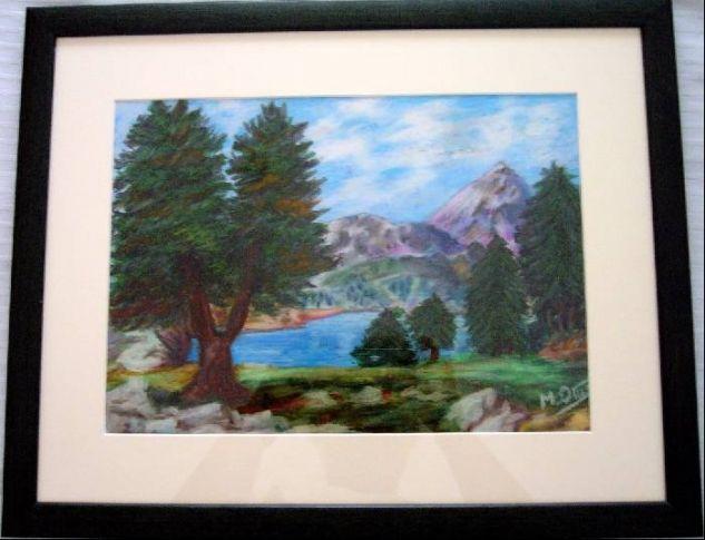Lago en los Alpes Cera Cartulina Paisaje