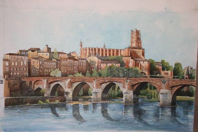 Albi y el puente nuevo. Francia Watercolour Paper Landscaping