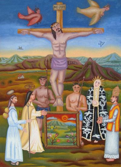 Crucifixión de mi señor Lienzo Óleo Figura