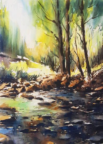 nacimiento rio Landscaping Watercolour Paper
