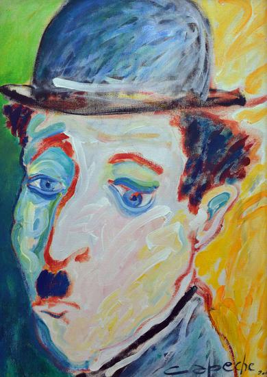 Chaplin 3 Tela Acrílico Figura