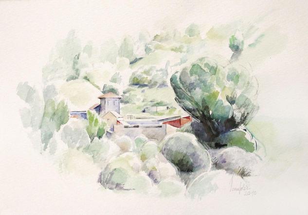 Canseo. Casa de Celia. Acuarela. 23 x 32 cm. Acuarela Papel Paisaje