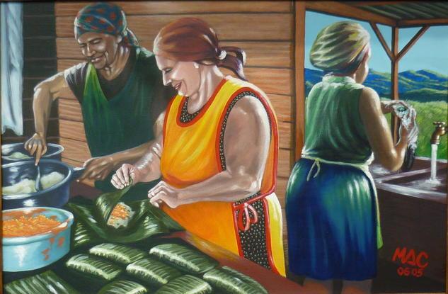 La nochebuena Canvas Figure Painting Acrylic