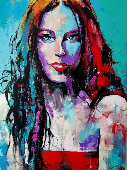 Ladie in Blue  Portrait Acrylic Canvas