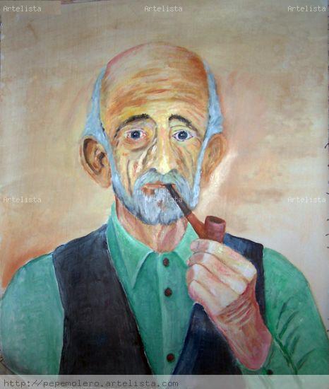 fumando en pipa Acrílico Lienzo Figura