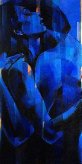 Amor azul Canvas Mixed media Figure Painting