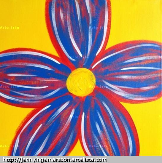 Stor blomma - gul Lienzo Acrílico Floral