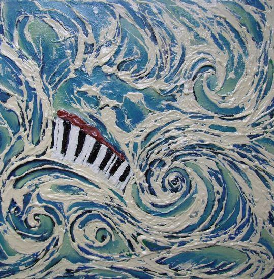 Simfonia en blaus Media Mixta Lienzo Marina
