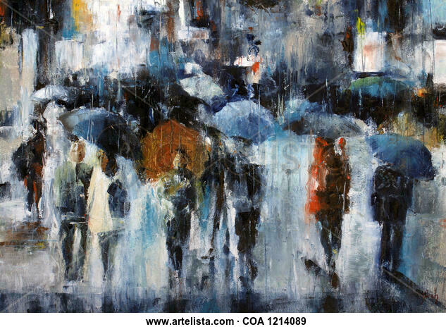 shopping in the rain Landscaping Oil Canvas