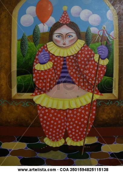 Arlequina con globo Lienzo Acrílico Figura