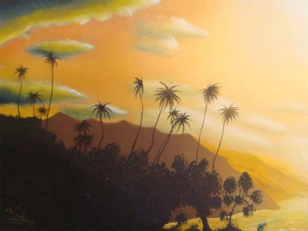 Atardecer en Puerto Colombia Canvas Oil Marine Painting