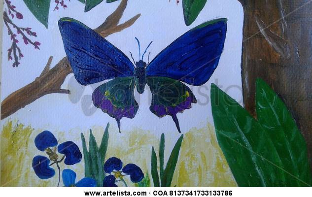 Mariposas, dos Cartulina Acrílico Animales
