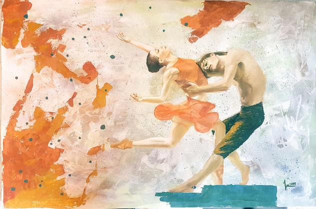 Hielo y Fuego Figure Painting Mixed media Card