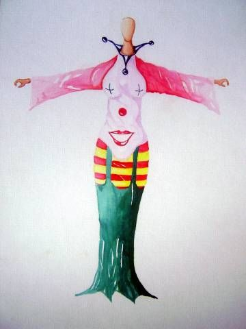 mujer payaso Paper Watercolour Figure Painting