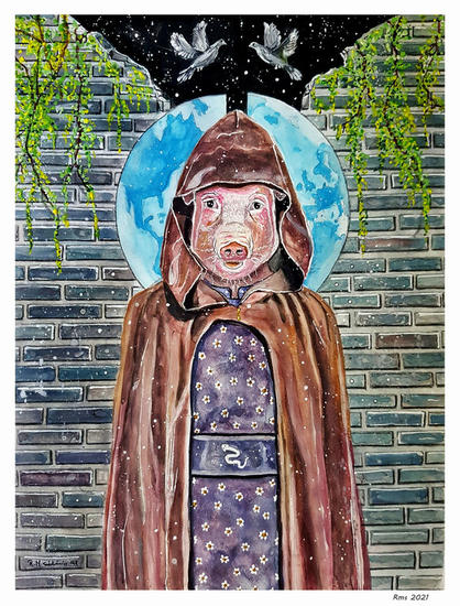 El cerdo guardián Figure Painting Mixed media Paper