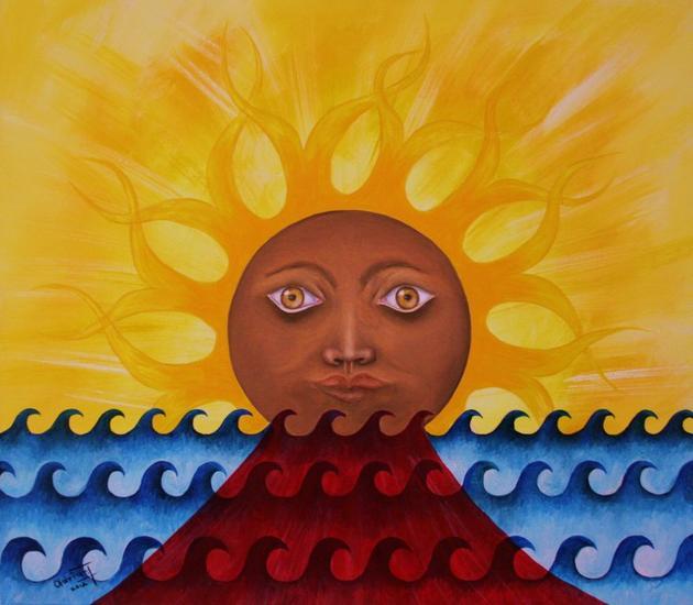 PUESTA DE SOL EN CHAPALA Canvas Acrylic Marine Painting