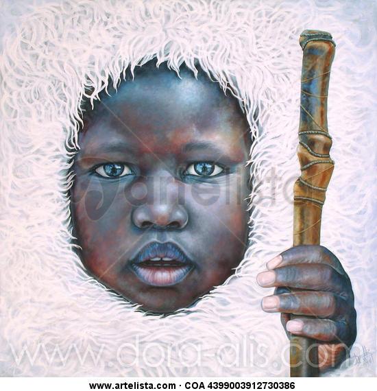 Niño de Raza Negra 87 (El Niño que ha visto al Budha) Lienzo Acrílico Retrato