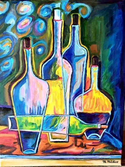 Bodegon Abstracto , con botellas Bodegones Óleo Tela
