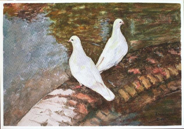 En el estanque Cartulina Acuarela Animales