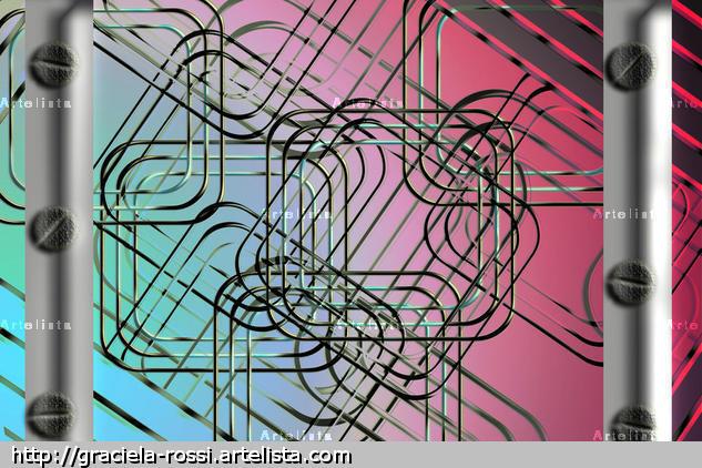 Fondo con detalles metálicos Arquitectura e interiorismo Color (Digital)
