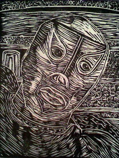 El enmascarado Linograbado