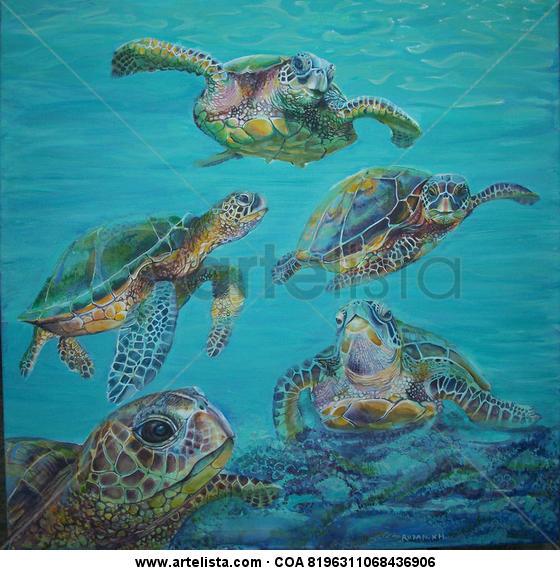 tortugas marinas (sea turtles) Lienzo Acrílico Animales
