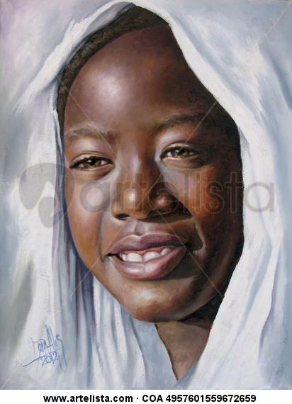 Niña de África 4 Canvas Oil Portrait