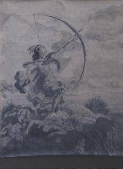 flechador del cielo Grafito Papel Paisaje