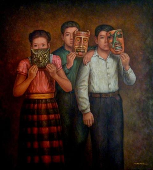 Niños con máscaras Lienzo Óleo Retrato